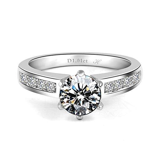 AMDXD Jewelry Engagement Ring Zirconia Six Claw Created Diamond Anniversary Rings Size 9