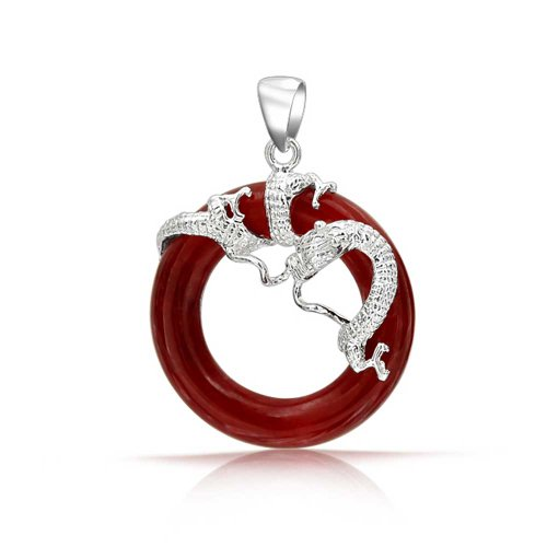 Red Jade Dragon (Bling Jewelry Open Circle Rhodium Plated Dyed Red Jade Dragon Pendant)
