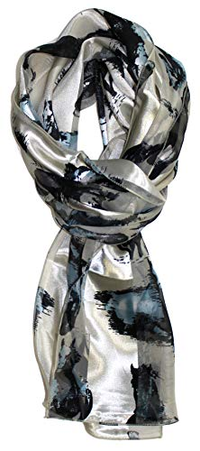 Ted and Jack - Stylish Equestrian Horse Print Silk Feel Scarf (Painted Ivory) (Painted Scarf Silk)