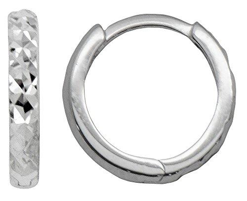 14k Gold Diamond-Cut Reversible Small Huggie Hoop Earrings (2.25mm Thick), 12.5mm (14k White - Gold Reversible 14k Crystal