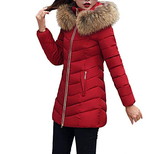 JESPER Fashion Winter Women Puffer Jacket Long Thick Warm Slim Coat Removable Hooded Wine Red