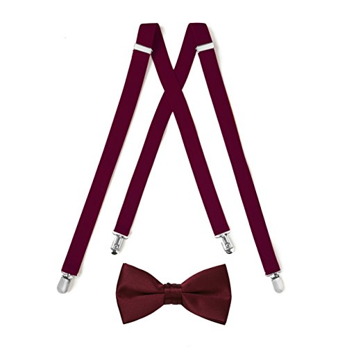 Suspender & Bow Tie Set (Adult, Burgundy)