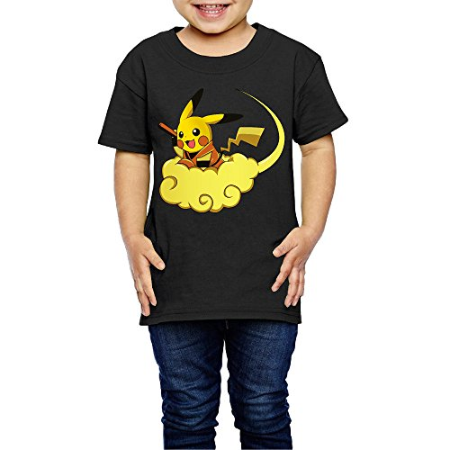 2-6 Toddler Little Girl's Fly GokuChu Auspicious Clouds Cute Short-sleeve Tee Black