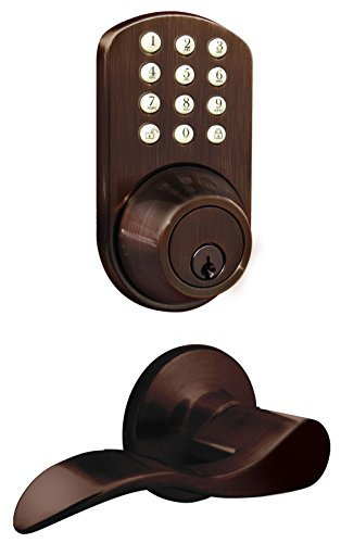 MiLocks TFL-02OB Digital Deadbolt Door Lock and Passage Lever Handle Combo with Keyless Entry via Keypad Code for Exterior Doors, Oil Rubbed Bronze