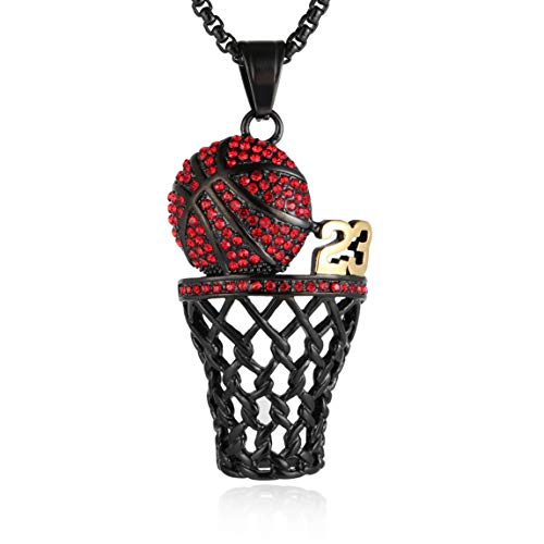 HZMAN Mens 18k Gold Silver Plated Basketball Rim CZ Inlay Pendant Hip Hop 24 Inches Chain (Black - 23)