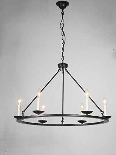 Farmhouse Kitchen Island Pendant Lamp, JJGD Retro Round Dimmable LED Chandelier Wagon Wheel Lighttening Ceiling Light Diameter 77cm/30.31