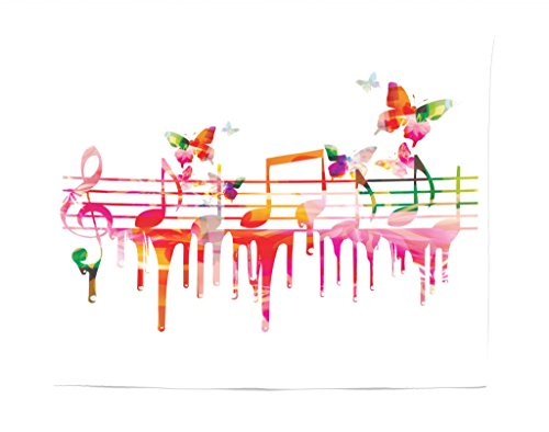 Lunarable Music Tapestry, Colorful Artwork Music Notes Clef Signs Composer Orchestra with Classical Design, Fabric Wall Hanging Decor for Bedroom Living Room Dorm, 28 W X 23 L inches, -