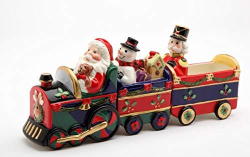 Fine Ceramic Christmas Santa/Snowman/Nutcracker Train Salt and Pepper Shakers and Sugar Pack Holder (Set of 3), 8-1/4