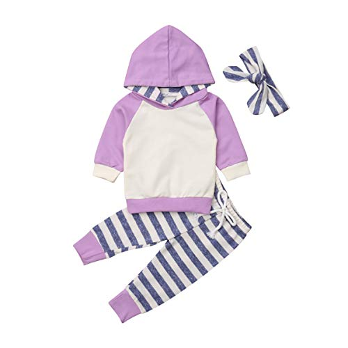 Baby Boys Girls Clothes Long Sleeve Hoodie Tops Sweatsuit Pants Headband Outfits Set 0-24 Months (0-3 Months, Purple)