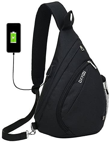 GinkgoTree Sling Crossbody Backpack Shoulder Chest Bag Outdoor Daypack with USB Charging Port for Hiking, Walking, Cycling