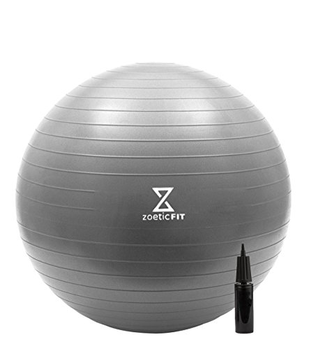 Exercise Ball for Stability, Strength, Balance, Yoga, or Desk Chair by Zoetic Fit Anti Burst, 55cm, 65cm, 75cm with Hand Pump (Silver, 75cm)