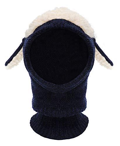 Bienvenu Kids Unisex Warm Puppy Scarf Shawl Smart Hat Soft Stretchable Animal Hat with Ear Flap,Navy_Soft Chenille (Smart Cap)
