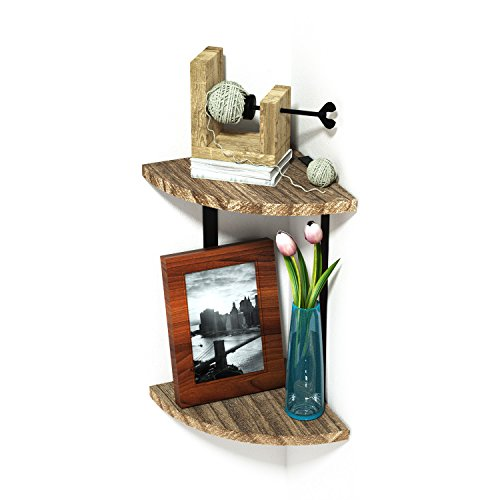 RooLee Corner Shelf 2-Tier Wall Mount Floating Shelves, Rustic Wood Wall Storage Shelves Cute Shelves for Any Room