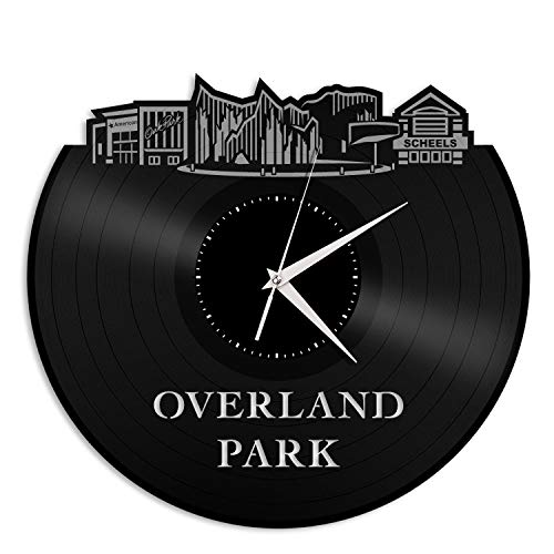 VinylShopUS - Overland Park KS Vinyl Wall Clock City Skyline Souvenir Best Gift for Friends Office and Bedroom | Home Anniversary Decoration]()