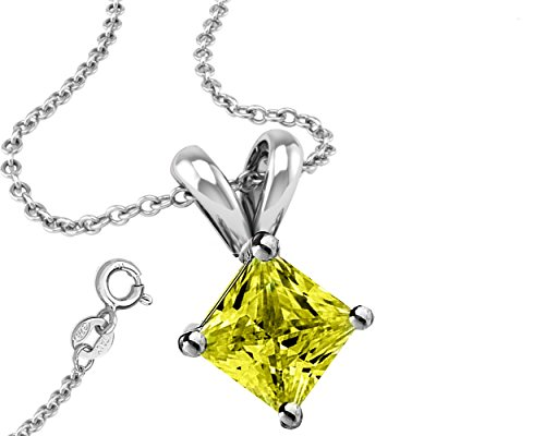 Yellow Cubic Zirconia Necklace Pendant with 18 Inch Rolo Chain in 925 Sterling Silver