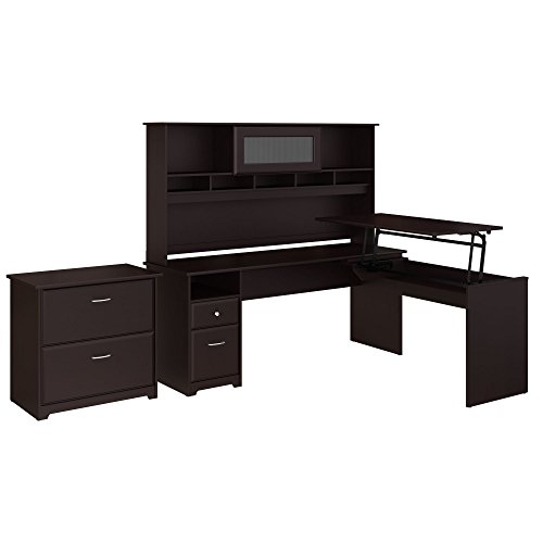 - Bush Furniture Cabot 72W 3 Position L Shaped Sit to Stand Desk with Hutch and File Cabinet in Espresso Oak