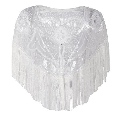 Fringed Jacket Womens - PrettyGuide Women's Gatsby Cape Sequin Fringed Bolero 1920s Flapper Shawl White