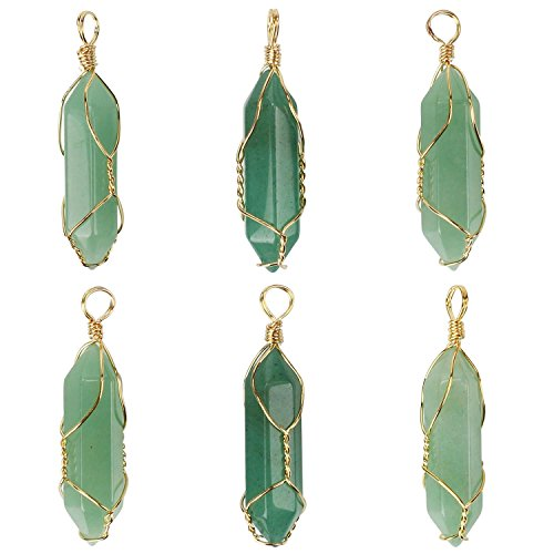 (Wholesale 6 PCS Hexagonal Pile Pendant Natural Green Aventurine Quartz Charm with Gold Plated Brass Wire Wrapped Chakra Healing Point Reiki Charm Bulk for Jewelry Making)
