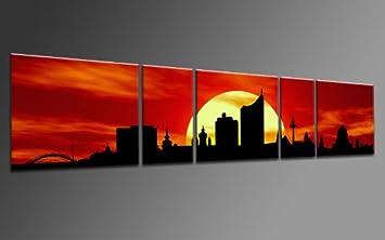 TOP Bild Auf Leinwand CITY PANORAMA STYLE LEIPZIG SUN ROT 5 TEILE DIGITAL Arts AP500169 Bilder