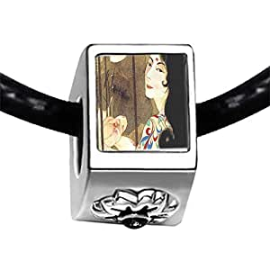 Chicforest Silver Plated Woman In Screen Painting Photo Black Crystal Flower Charm Beads Fits Pandora Bracelet