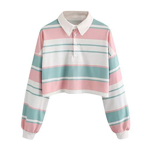Women Blouse, Farjing Casual Drop Shoulder Striped Crop Pullover Sweatshirt Top Blouse(2XL,Multicolor) by Farjing
