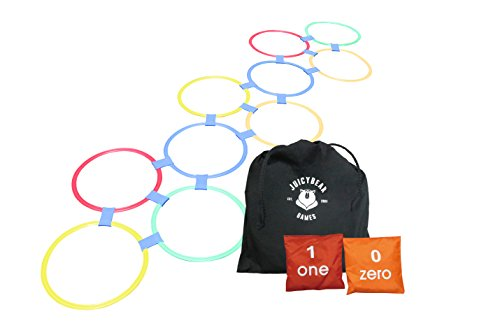 Hopscotch Set by JuicyBear - Fun Indoor or Outdoor Lawn Games for Kids with Handy Carry Bag