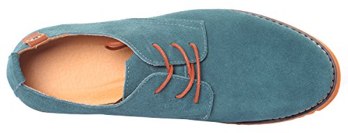 Runday Mens Mode Daim Chaussures En Cuir Bout Rond Lacer Casual Oxfords Bleu Clair