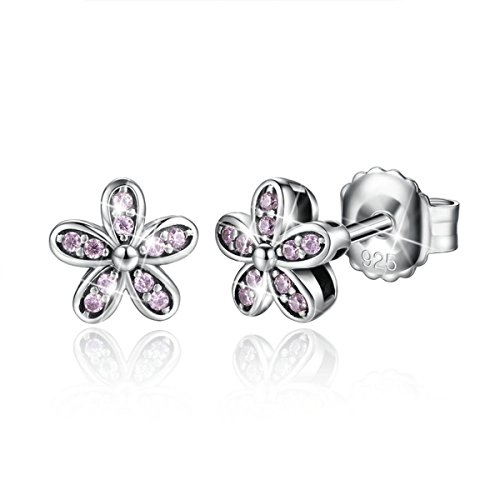 Bamoer 925 Sterling Silver Dazzling Daisy Hawaiian Flower Stud Earring with CZ for Women
