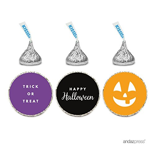 (Andaz Press Chocolate Drop Labels Trio, Fits Hershey's Kisses, Halloween Trick or Treat,)