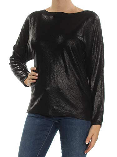(LAUREN RALPH LAUREN Womens Shimmer Boat Neck Pullover Sweater Black M)