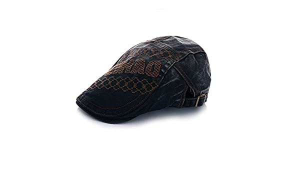 c49ed9bee86 Amazon.com   Elwow Men s Lace   Embroidery Flat Newsboy Cap Cabbie Hat  Gatsby Ivy Cap