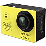 Lightdow LD6000 Wifi 1080P HD Sports Action Camera Kit - App Remote Control 30m Waterproof 2.0 Inch LCD Screen 170 Degree Wide Angle 2 Rechargeable Batteries and Mounting Accessories (Yellow+WiFi)