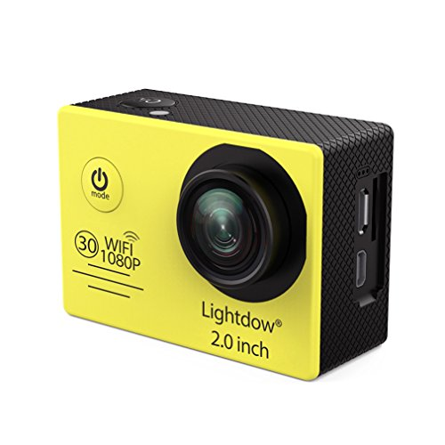 Lightdow LD6000 Wifi 1080P HD Sports Action Camera Kit - App Remote Control 30m Waterproof 2.0 Inch LCD Screen 170 Degree Wide Angle 2 Rechargeable Batteries and Mounting Accessories (Yellow+WiFi) by Lightdow