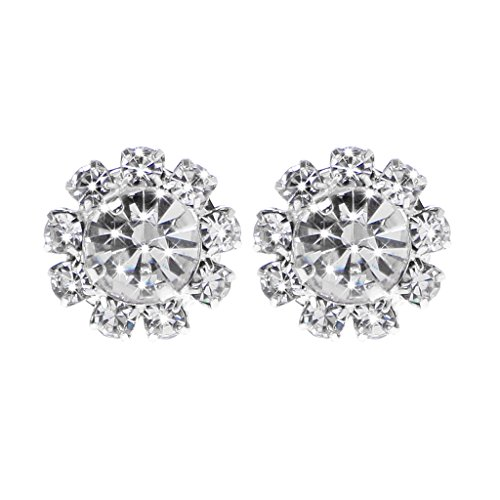 (Kofun Earrings, 1 Pair 1 -Stones Round Cubic Zirconia Flower Shape Stud Earrings Jewelry White Diamond Silver Plated A)
