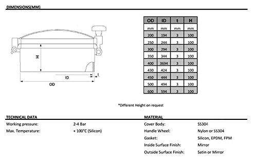 New Stainless Steel Pressure Circular Manhole Cover Tank Round Manway Door (450mm)