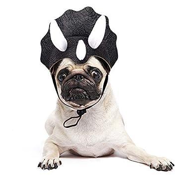 JDYW Disfraz de Dinosaurio para Mascotas Triceratops Peluca para Perros para Perros Disfraz Divertido (Dinasour