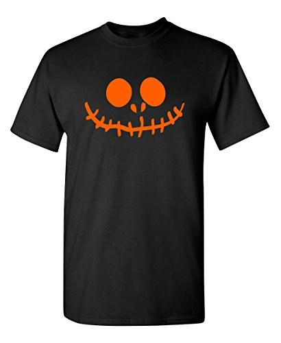 (Stitched Pumpkin Emoticon Smile Face Graphic Costume Funny Halloween T-Shirt 2XL)