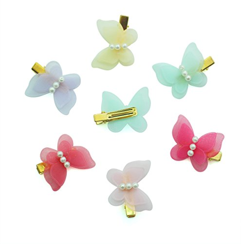 Cellelection 6 Pcs Newly Design Lovely Baby Girls Colorful Hair Pins Silky Pearl Butterfly Alligator Hair - With Sunglasses Banana