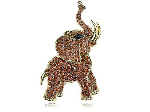 Alilang Golden Tone Brown Rhinestones Animal Elephant Trunk Brooch Pin ()