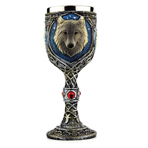 Wolf Head Wine Goblets Ossuary Chalice Resin Body Stainless Steel Drink Chalice Cup Figurine Christmas Halloween Gifts for Women Men by Buyeverything