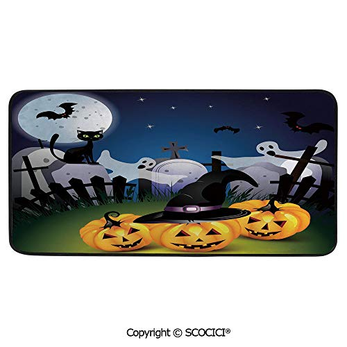 Print Door Mat, Indoor Floor Area Carpet Compatible Bedroom,Living Room,Children, Playroom, Bathroom,Halloween,Funny Cartoon Design with Pumpkins Witches Hat Graveyard,39
