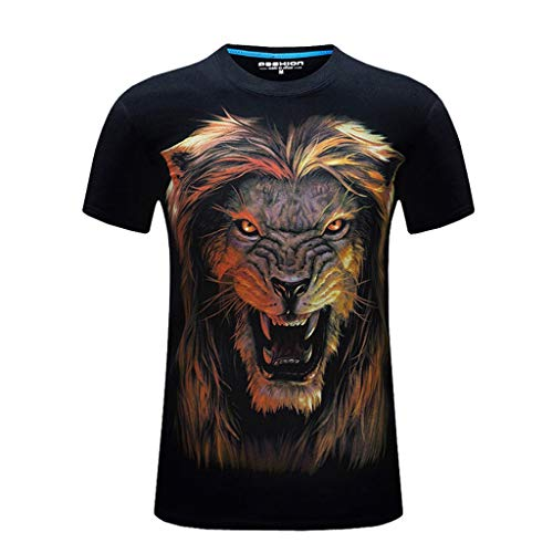 T-Shirts for Men, MmNote Fierce Lion Screaming Print Moisture Wicking Performance Training Athletic Summer Short Sleeve Black