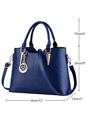 borsa Leather Bag Diamante nuove signore lucida Menschwear Tote Blu Nero PU tracolla a FqnTdT0x