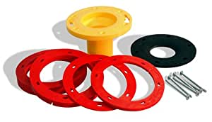 "OATEY 43400 Set-Rite Toilet Flange Extension Kit, 1/4"" - 1-5/8"", Red, Yellow"