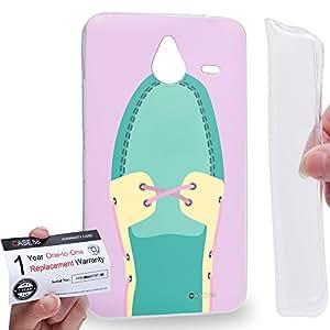 Case88 [Nokia Lumia 640XL] Gel TPU Carcasa/Funda & Tarjeta de garantía - Art Hand Drawing Aqua Boat Shoe Art2093