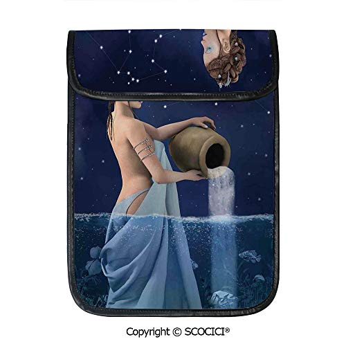 SCOCICI Shockproof Tablet Sleeve Compatible 12.9 Inch iPad Pro Aquarius Lady with Pail in The Sea Water Signs Saturn Mystry at Night Stars Decorative Tablet Protective Bag