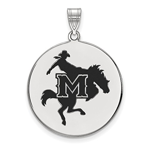 Mcneese State University Basketball (925 Sterling Silver Officially Licensed McNeese State University College XLarge Enamel Disc Pendant)