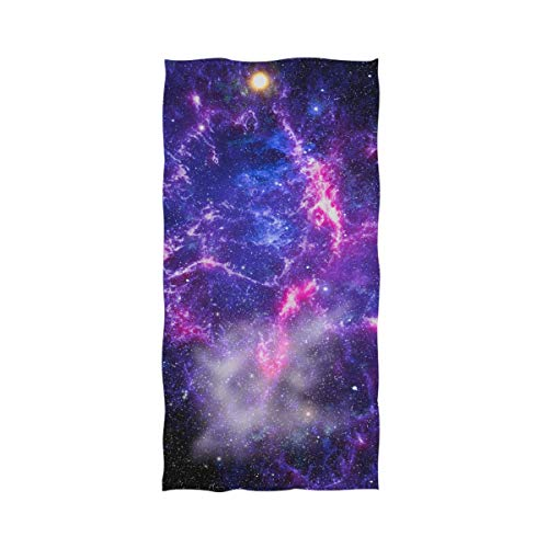 Naanle Magic Outer Space Beautiful Nebula Print Soft Bath Towel Highly Absorbent Large Hand Towels Multipurpose for Bathroom, Hotel, Gym and Spa (16 x 30 Inches)
