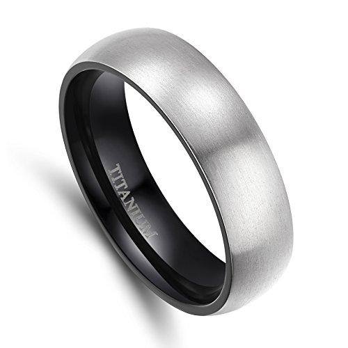 Comfort Fit Brushed Wedding Band (6mm/8mm Men's Titanium Ring Brushed Dome Wedding Band Comfort Fit Size 4-15)
