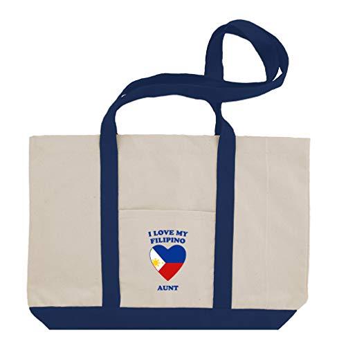 I Love My Filipino Aunt Cotton Canvas Boat Tote Bag Tote - Royal Blue - Filipino Tote Bag